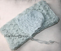 Gray Newborn Baby Photo Prop Mohair Knit Wrap Luxury Yarn Hat