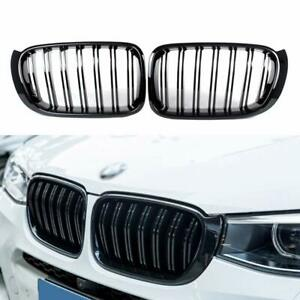 Gloss-Black-Twin-Bar-Front-Kidney-Grille-Grill-for-BMW-X3-F25-X4-F26-2014-2017