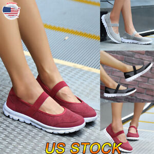 Women-039-s-Fashion-Mesh-Casual-Round-Toe-Slip-On-Flat-Sneakers-Open-Shoes-Size-NEW