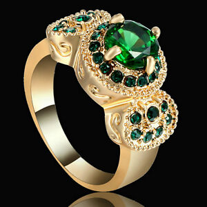 Green-Emerald-Zircon-Band-Women-039-s-10KT-Yellow-Gold-Filled-Wedding-Ring-Size-7