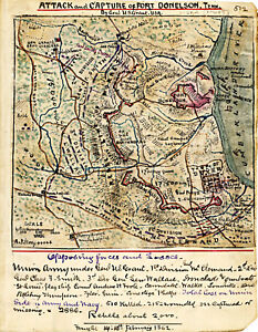 1862 Civil War Map Attack and Capture of Fort Donelson Military Poster History
