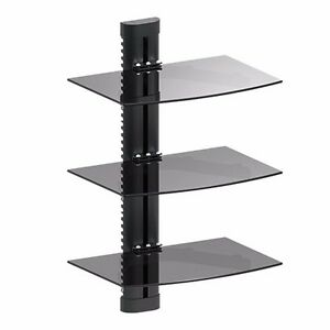 3-TIER-GLASS-SHELF-WALL-MOUNT-UNDER-TV-CABLE-BOX-COMPONENT-DVR-DVD-BRACKET