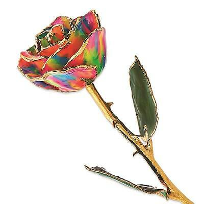 Flowers /& Leaves Lacquer Dipped 24K Gold Trim Single Stem Rainbow Rose