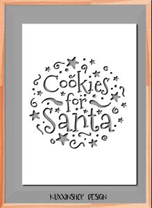 Cookies for Santa Christmas Stencil A5 A4 A3  Mylar Reusable Stencil Airbrush