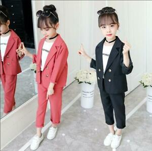 New Girls Long-Sleeve Cotton Outfits sets Kids Child Suit Jacket+pant sets  2PCS | eBay