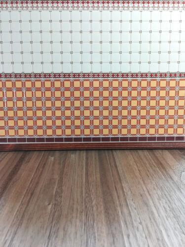 Dollhouse Miniature Orange White Maroon Wall Tiles Textured 1:12 World Model