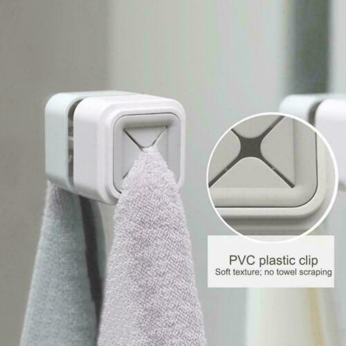 1pc Wash Cloth Clips Hook Storage Wall-mounted Towel Holder Rack Kitchen N9H6