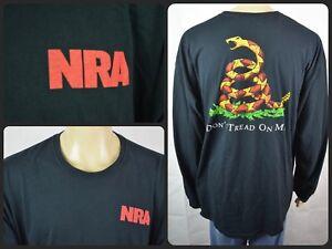 e54cb4b5c9c Vtg NRA Official Black Dont Tread On Me Snake Print L/S T-Shirt Mens ...