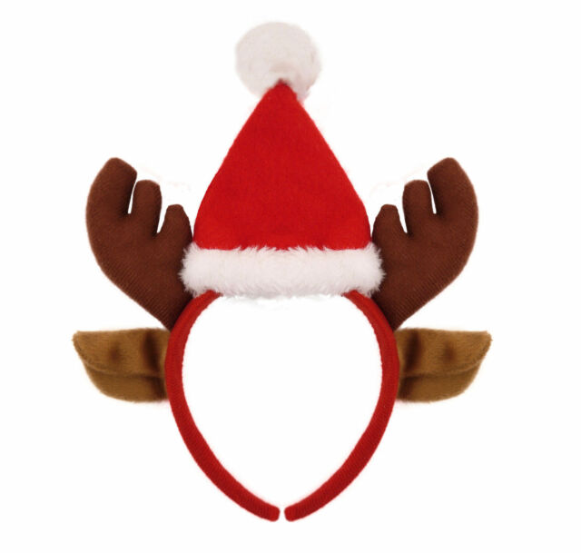 Xmas New Headband Reindeer Head Bopper for Kids /& Adults Red Antlers Hat D