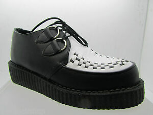 Leather New Shoes Uk Made Rare Black Punk Hand Retro White Rock Creepers 8Xr8gq