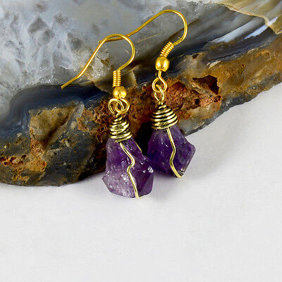 Natural Rainbow Labradorite Crystals Earrings Brass Wire Wrapped Vintage Jewelry