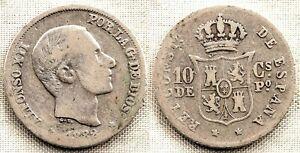 Spain-alfonso Xii. 10 Centavos De Peso. 1882 Manila Plata 2,6 G. Escasa Un RemèDe Souverain Indispensable Pour La Maison