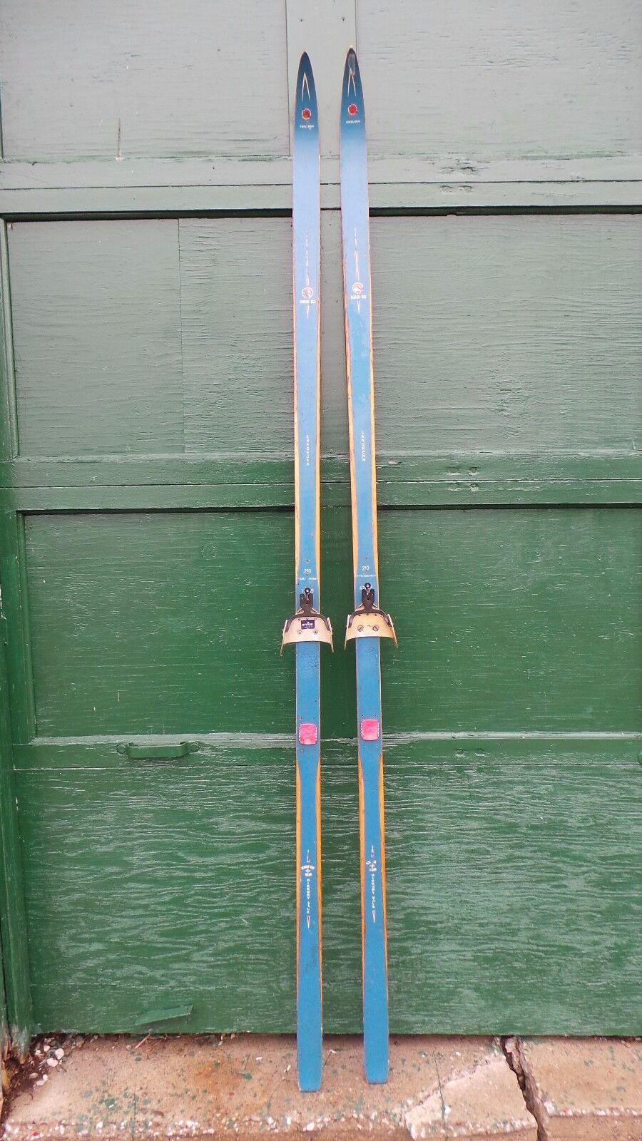 Vintage Set 81  Long Wooden bluee Skis Signed NORGE SKI