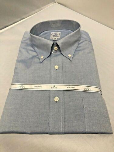 Enro Blue Button Down Collar Dress  Shirt 18 Inch Neck 34-35 NO IRON