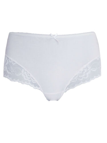Ex George  Cotton White Lace Panel Brazilian Knickers