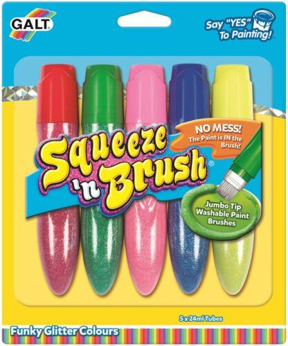 Galt SQUUZE 'N BRUSH 5 GLITTER COLOURS Kids Art Craft Toy BN