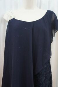 4210d7654fd3 Betsy & Adam Dress Sz 8 Navy Blue Lace Chiffon Overlay Sleeveless ...