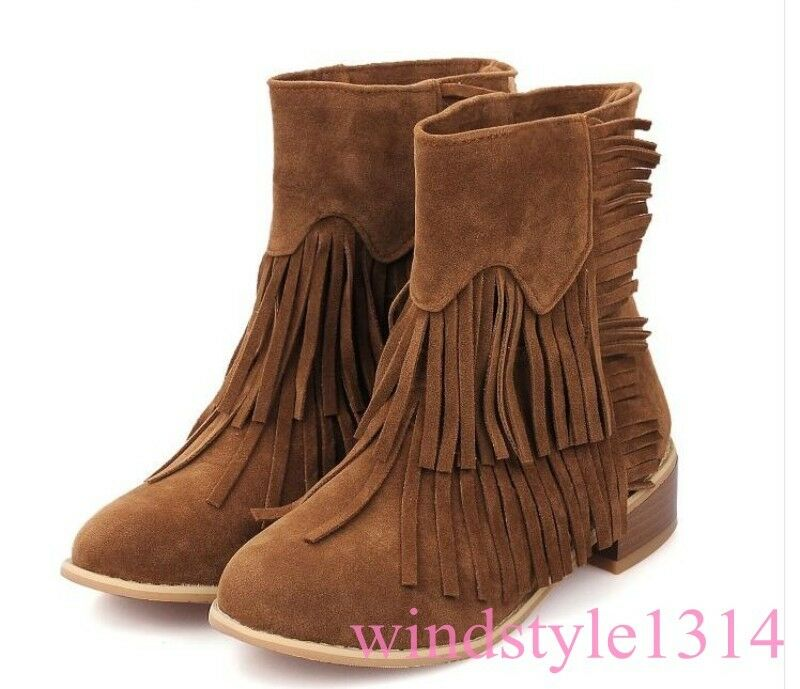 Vintage Borla para Mujer Mitad de Pantorrilla botas De Bloque Talón Mitad de Pantorrilla botas Gamuza Estilo Roma