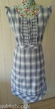 Monzón Algodón Indio blanco azul y gris cheque Prairie Sol Vestido 14 42 Nuevo