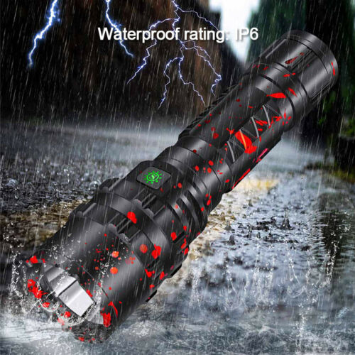 XHP50.2 100000Lm Zoom LED Flashlight USB Rechargeable Torch 26650 Powerful Light