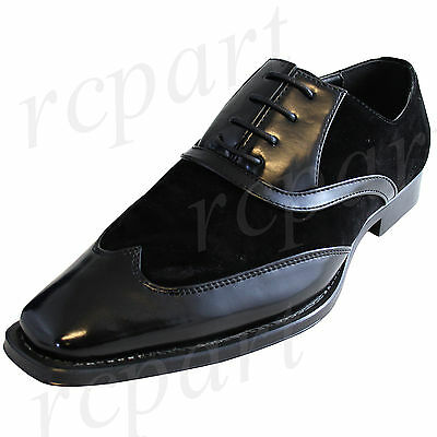 New men's shoes dress formal fashion lace up synthetic material black