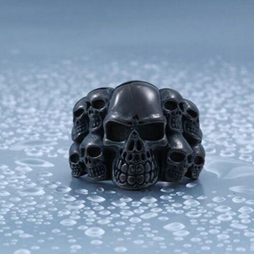 316L Stainless Steel Cool Men Terror Black Skull Punk Rock Ring G284 Sz 7-13