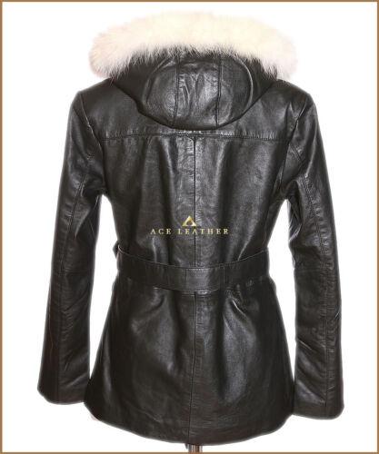 femmes capuche à doux noir capuche Beyonce très d'agneau pour et cuir blanc à Veste en aOYq8a5