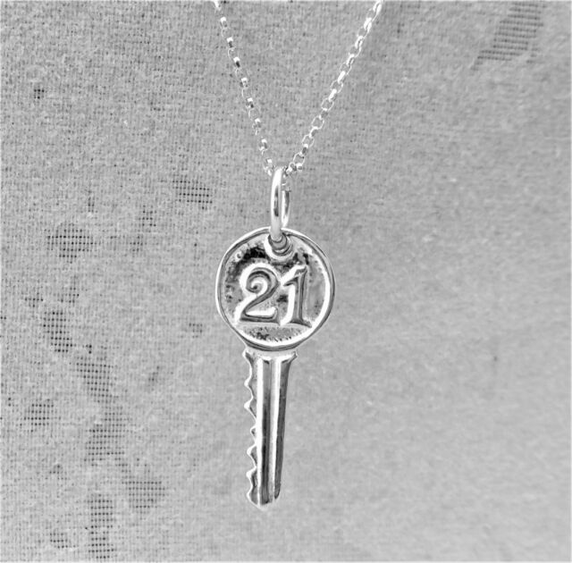 "Sterling Silver (925)  Solid 3D Charm ""21 key"""