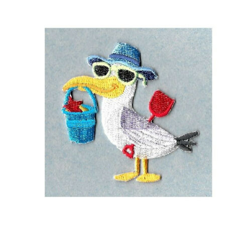 Embroidered Iron On Applique Patch Seagull Beach Summer Bird Vacation