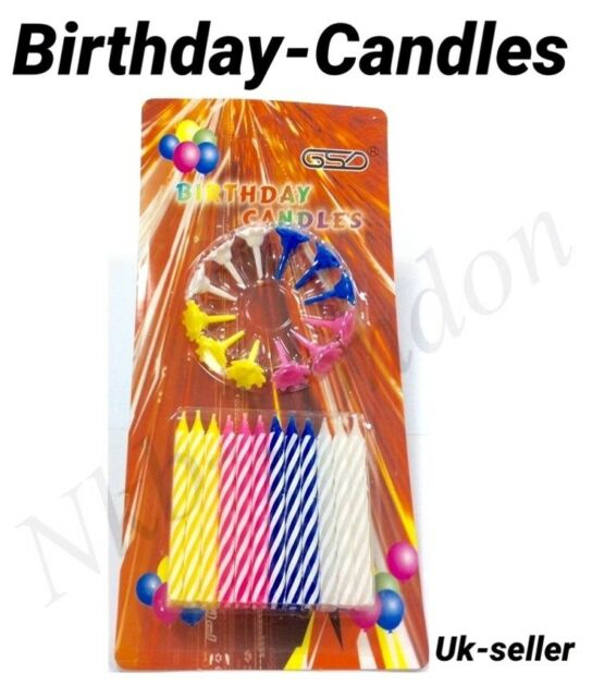 Birthday Candle Set Cake Party Pack Of 24 Piece Candles 12 Holders UK