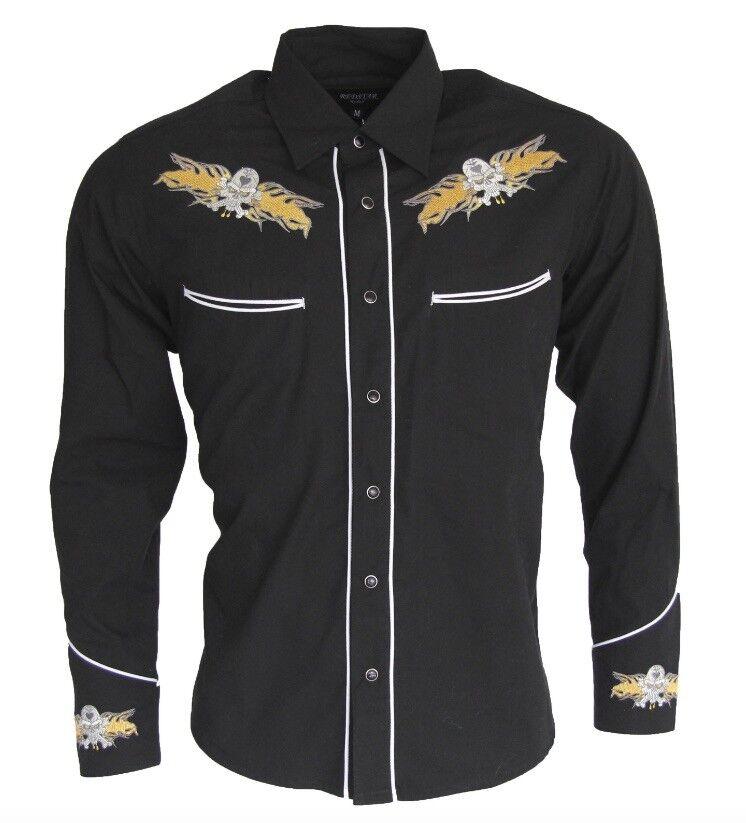 nero Relco Cowboy Line Dance Rockabilly Western Camicia ricamata SMALL - 3XL