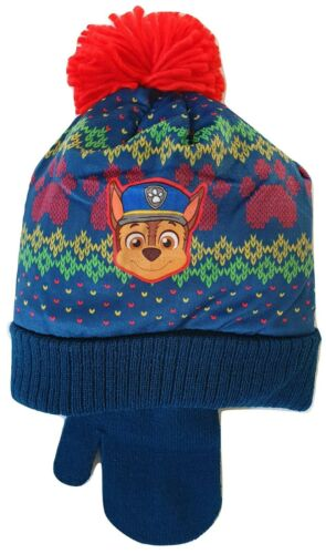 Boys Paw Patrol Hat Mittens Pom Pom Winter Accessories Set