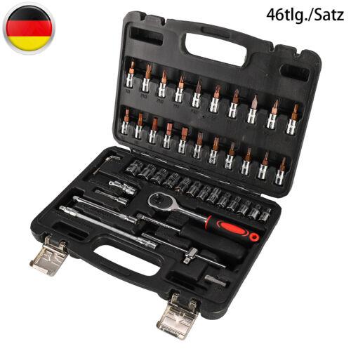 46teilig Steckschlüssel Satz 1//4 Zoll Werkzeug Knarrenkasten Set Ratschen Nüsse