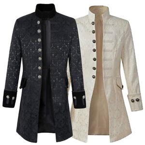 Retro-Mens-Gothic-Brocade-Jacket-Frock-Coat-Steampunk-VTG-Victorian-Morning-Coat