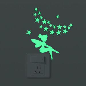 Wandtattoo-Fee-nachtleuchtend-Sterne-Lichtschalter-Kinderzimmer-Leuchtsticker
