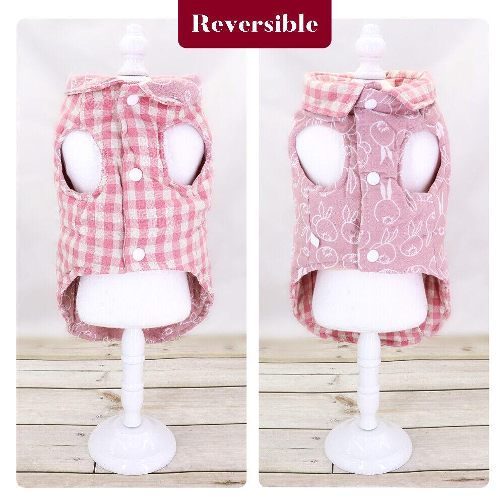 Reversible Plaid Pet Dog Vest- Warm-Plaid-Dog-Coat-Jacket-Winter-Puppy-Small-Pet-Reversible-Dog-Clothes-Apparel