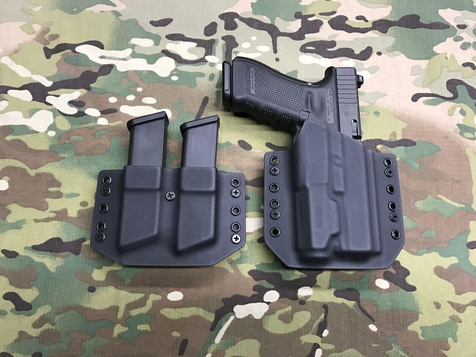 Negro Funda De Kydex Luz Glock 17 22 31 Inforce APL con Mag portador