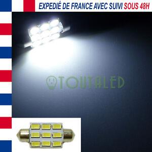 AMPOULE LAMPE NAVETTE C7W 39MM 12V 9 LED 5630 BLANC XENON PLAQUE PLAFONNIER