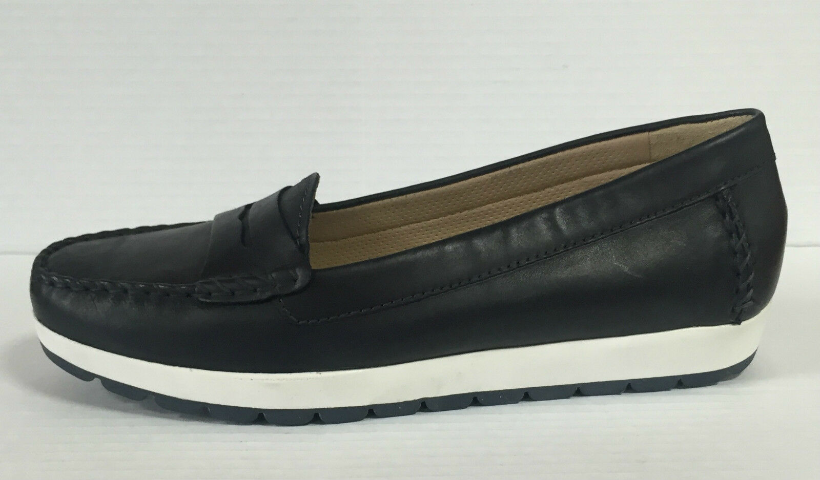 GEOX SENDA D22U4S shoes DA women MOCASSINI IN PELLE NAVY CON SUOLA IN GOMMA