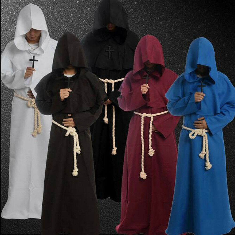 ADULT MONK PRIEST HOODED ROBE RELIGIOUS COSTUME DRESS NEW XXL FW1198