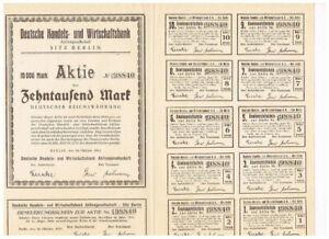 Deutsche Handels- und Wirtschaftsbank AG, Berlin 1923, 10.000 Mark, ungelocht/ K