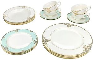Image is loading Classic-Gold-Plated-Porcelain-Dinner-Service-for-Four-  sc 1 st  eBay & Classic Gold-Plated Porcelain Dinner Service for Four 20-Piece ...