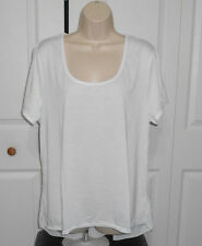 EXTRA TOUCH Women's Plus White w/Back Pleated Racerback Overlay Top Size 3X