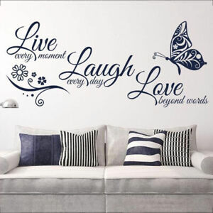 Details About Live Laugh Love Butterfly Letter Quotes Wall Stickers Art Mural Decal Room Decor