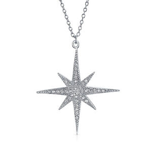8ffdb13909c6e Details about Celestial 8 Point Star North Star Burst Pendant Necklace CZ  Sterling Silver