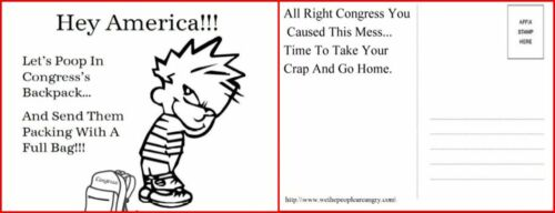 8 Post Cards Poop In Congress/'s Back Pack