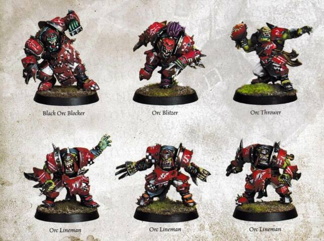 Games Workshop: Blood Bowl New 2016 Orc Reserve Players x 6 Players