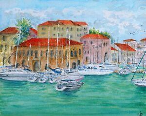 034-Heraklion-034-ORIGINAL-signed-watercolor-painting-Marina-Venitian-Harbor-Greece