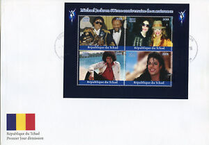 TCHAD-2018-FDC-Michael-Jackson-Janet-4-V-M-S-Cover-musique-Celebrites-timbres