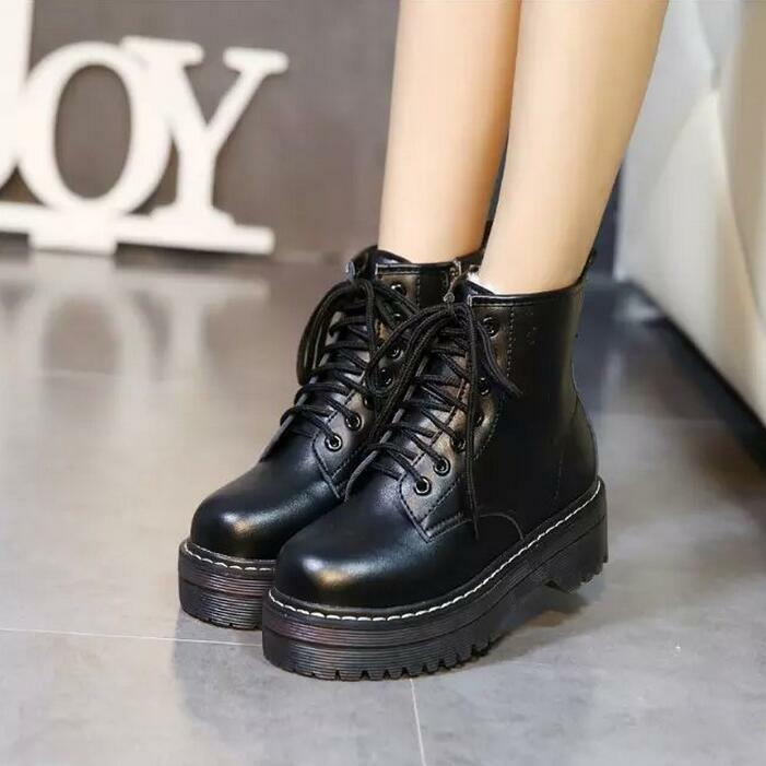 Womens classic zip lace up combat riding boots ankle platform oxford punk shoes